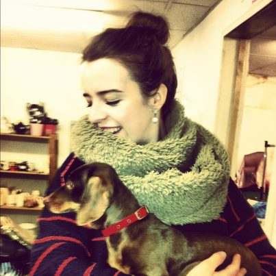 Here is Dolly and I - a mini dachshund - just because! Who doesn't like a little doggie?